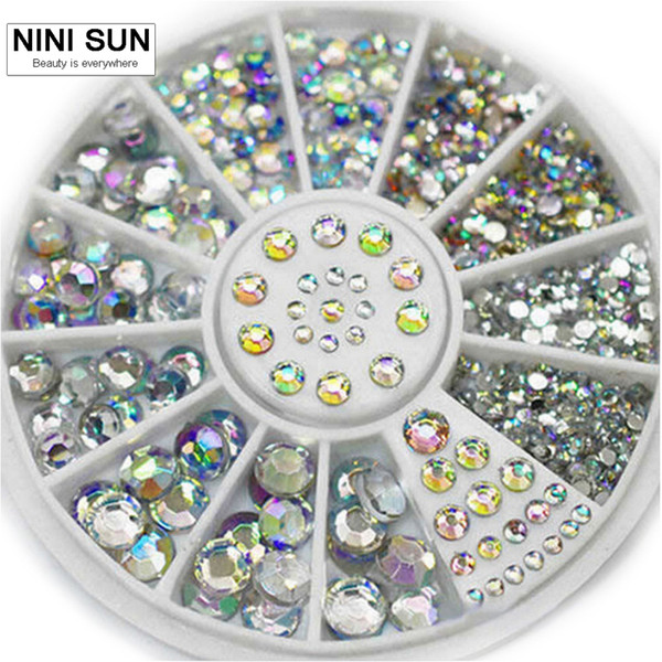 ecorative studs 2016 Mixed Colors 5 Sizes Acrylic Glitter Rhinestones Nails Accessoires 3d Nail Art Strass DIY Decorations Studs With Wh...