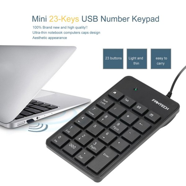 FANTECH Mini 23-Keys USB Number Pad Keypad Portable Numeric Keyboard For Laptop Notebook FTK-801 Eletronic Accessories
