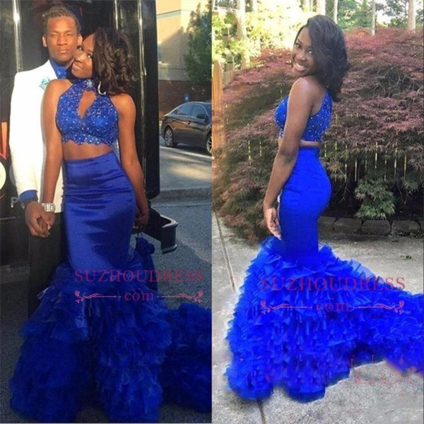 Stunning Royal Blue High Neck Two Pieces Prom Dresses 2018 Couple African Tired Skirts Cascading Ruffles Beaded Crop Top Evening Gown BA8110