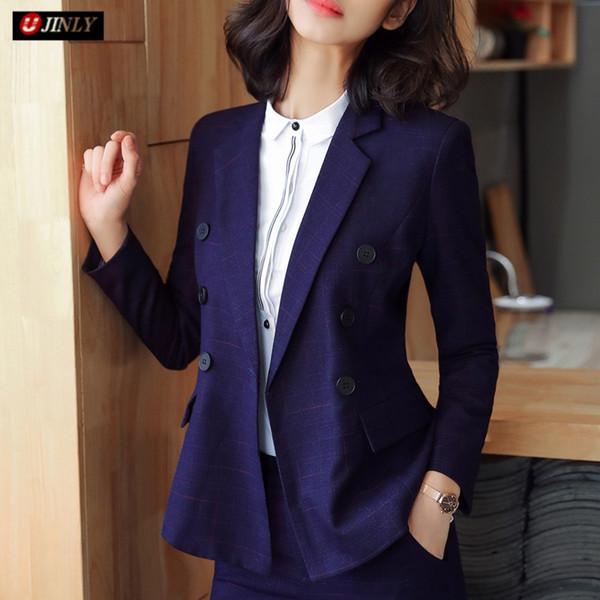 Chaqueta de señora de la oficina más el tamaño de la chaqueta de trabajo Chaqueta de primavera de la nueva manera de las mujeres azul púrpura Rayas delgadas de la manga larga formal de negocios