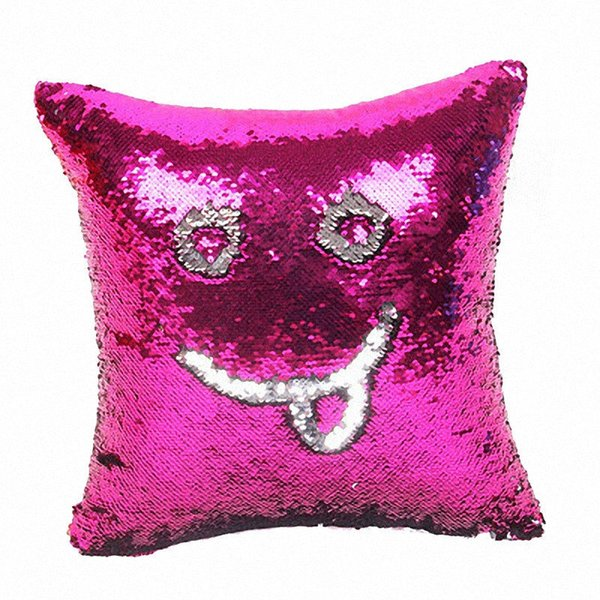 Mermaid Sequin Cushion Cover Magical Shining Smile Decorative Wholesale Color Changing Reversible Patchwork Solid Pillow Case