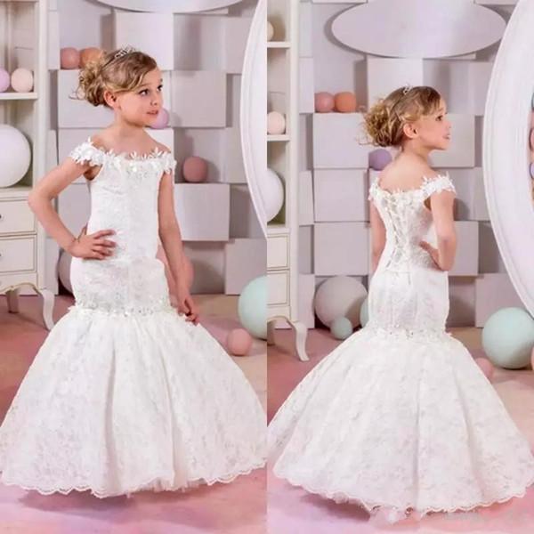 Neuheiten 2019 Neue Sexy Volle Spitze Meerjungfrau Blume Mädchen Kleider Für Hochzeiten Günstige Schulterfrei Applique Bodenlangen Pageant Kleider Benutzerdefinierte