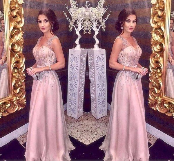 Compre 2019 Blush Moderno Una Línea De Color Rosa Vestidos De Noche Gasa Con Cuentas Cristalino De Espagueti V Cuello árabe Sin Mangas Vestido De