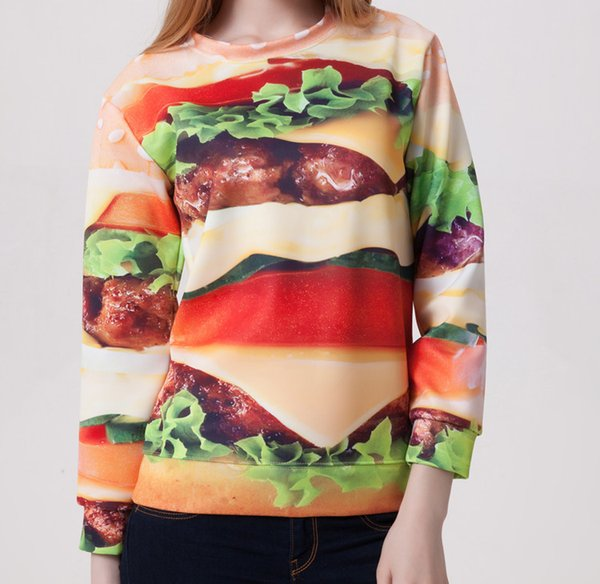 3180 Hot Selling European and American Digital Star Print Female Spring Autumn Hamburger Printing Pull Out Sweater Wholesale Fleece