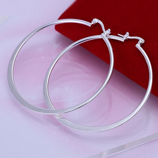 whole saleWholesale Beautiful Fashion Jewelry Silver Earring Flat Ear Ring 925 jewelry silver plated Earrings Free Shipping E043