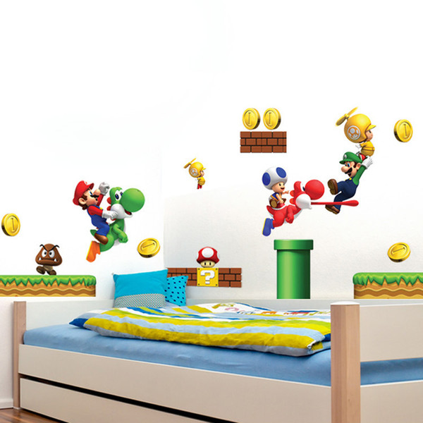 Super Mario Bros Removable Wall Stickers Vinyl Stickers Art Books  Children\'s Decor Border Tiles For Bathrooms Wall Decals Designs Wall Decals  Flowers ...