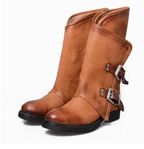 Original Otoño e invierno Nueva piel para mujer Caballero de tacón bajo Botas del desierto Botas Martin, botas individuales, tacón redondo, cómodo tamaño grande