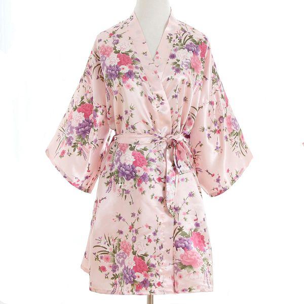 190ad4b307 85 Sexy Pink Plus Size Brides Wedding Robe Dress Women s Elegant Print  Satin Nightwear Flowers Kimono Bathrobe Gown Pajamas G09