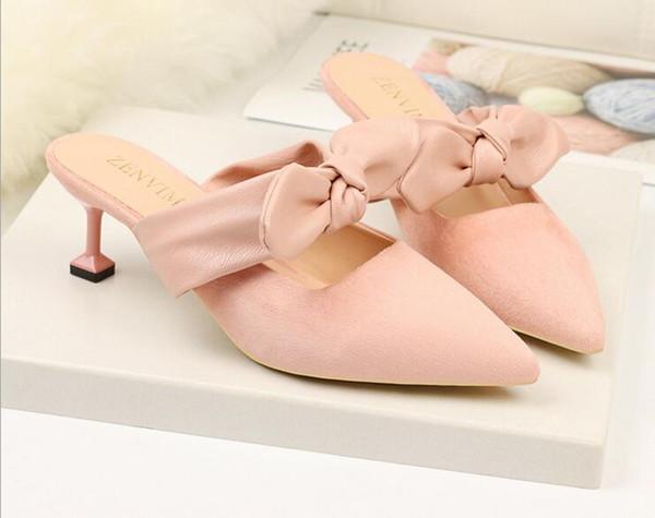 Women High Heels Shoes Plus Size Platform Wedges Female Pumps Elegant Flock Buckle Bowtie Slippers Ankle Strap Party Wedding Shoe