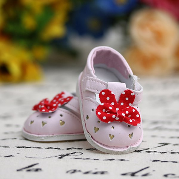 Doll Shoes 1 Pair Leather Shoes Bowknot Princess Mini Fits 18 Inch American Girl Doll Baby Toys Accessories For Dolls