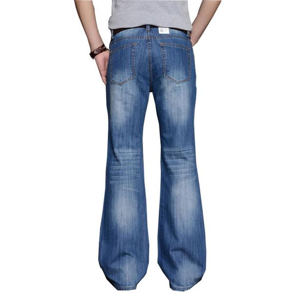 2018 Mens Big Flared Jeans Boot Cut Leg Flared Loose Fit high Waist Male Designer Classic Denim Jeans Pants Bell Bottom
