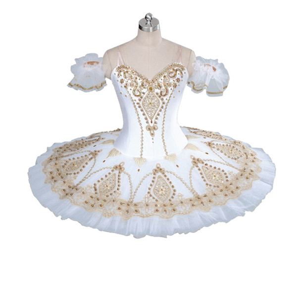 top popular Adult Professional Ballet Tutu White Gold Fairy Doll Pancake Platter Performance Tutus Women Classical Ballet Stage Costumes BT9056 2021