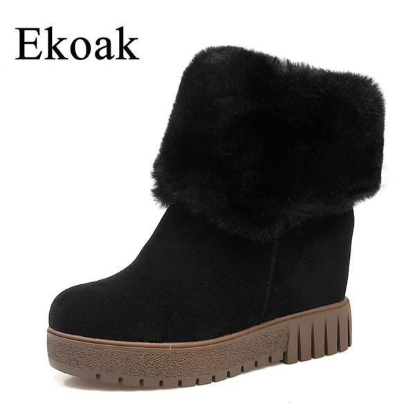 Ekoak Nuevo 2018 Moda Mujer Botas de Invierno Cálido Felpa Botines Cuñas Tacones Botas de Nieve Plataforma Botas de goma Zapatos Mujer