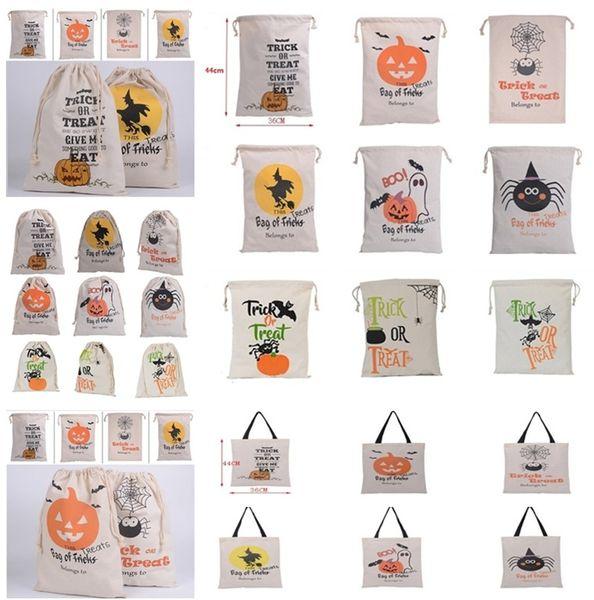 Caliente de Halloween bolsas de fiesta lona bolsos del caramelo del bolso de lazo 15 estilos Regalo lienzo de Santa saco de cosas Sacos bolsas de mano para Halloween