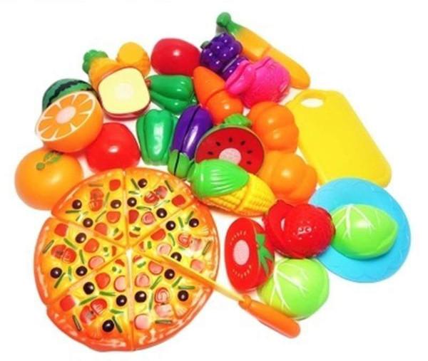 Mutfak Oyuncaklar Oyna Pretend 24 adet / takım Çocuklar Kesme Meyve Sebze Minyatür Güvenlik Gıda seti Çocuklar için Eğitim Klasik Oyuncak
