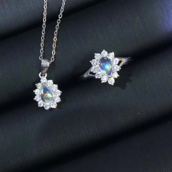 Fashion grace water drop Natural blue moonstone ring Pendant Natural Gemstone Jewelry Set 925 Silver Women party gift jewelry