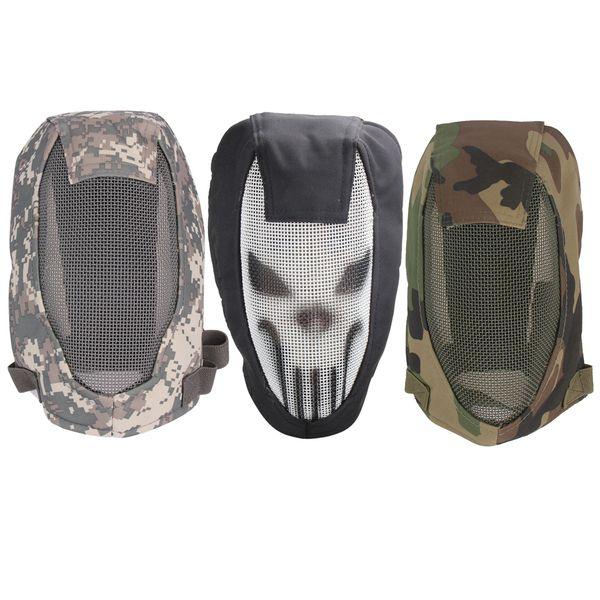 Mitad de cara máscara táctica de malla metálica Casco deporte Tiro al aire libre Protección caza Paintball Strike Airsoft esgrima Máscaras