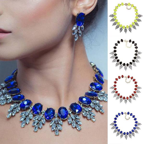 The latest hot sale in 2019 Fashion Women Jewelry Pendant Crystal Choker Chunky Statement Chain Bib Necklace
