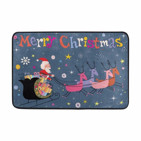 Merry Christmas Bath Mat Twinkle Star Santa Claus Elks Pattern Mats Non Slip Bathroom Toilet Rugs 40*60cm Water Absorption Rug