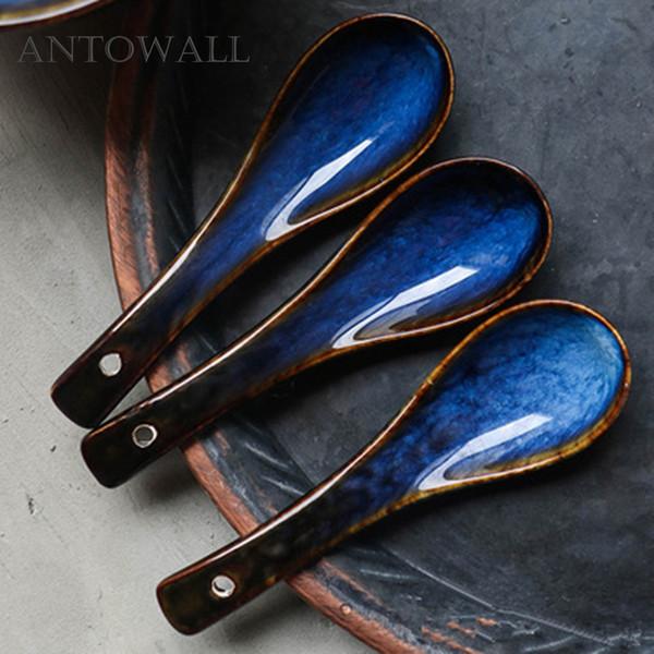 Dim blue series tableware dessert spoon porridge soup spoon ceramic colored glaze household