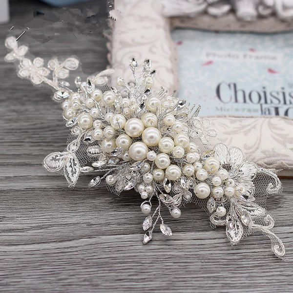 Handmade Lace Pearls Crystal Wedding Bridal Headband Women Hair Comb Clip Brush Accessories Headdress Fshion Bride Headpieces Tiara Crown