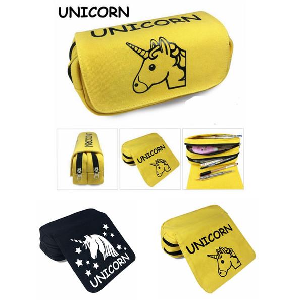 2 colors wallet unicorn Pencil Bag Cartoon Pencil Cases Stationery Storage Bag School Office Supply Kids Gift Purse MMA373 16pcs