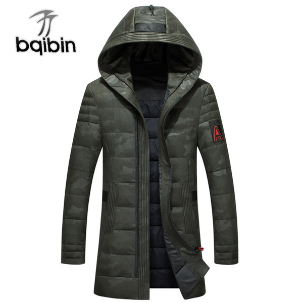 Brand Men'S Clothing 2018 Winter New Down Jacket Slim Fit 90% White Duck Down Coats Fashion Camouflage Long Hooded Parkas