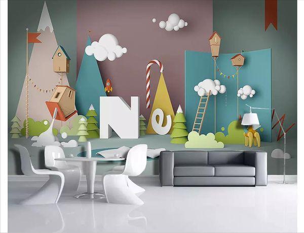 Acquista Personalizzato 3d Foto Murales Carta Da Parati Nordic 3D Cartoon  Spazio Giocattolo Semplice Camera Da Letto Bambini Camera Da Letto Parete  ...