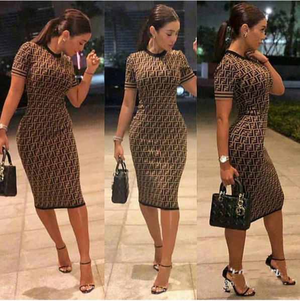 2018 women sexy party dress New Product Social Contact Popular Wind Number Double F Commute Dress