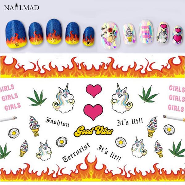 1 blatt Einhorn 3D Nail art Sticker Eis Nagel Aufkleber Feuer Aufkleber Aufkleber