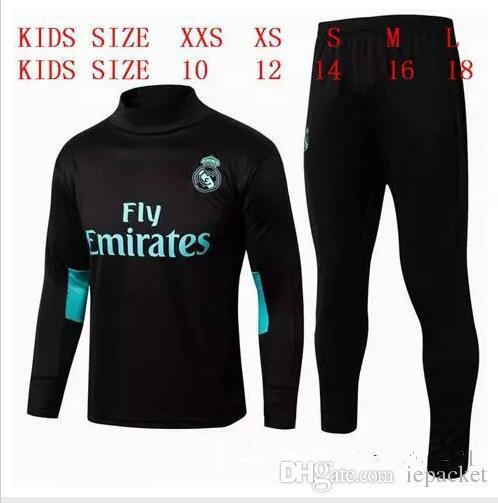HAVE SPONSOR 2017 kids Real Madrid survetement football KIDS tracksuits 2018 Ronaldo Long pants wear YOUTH training suit jacket kit