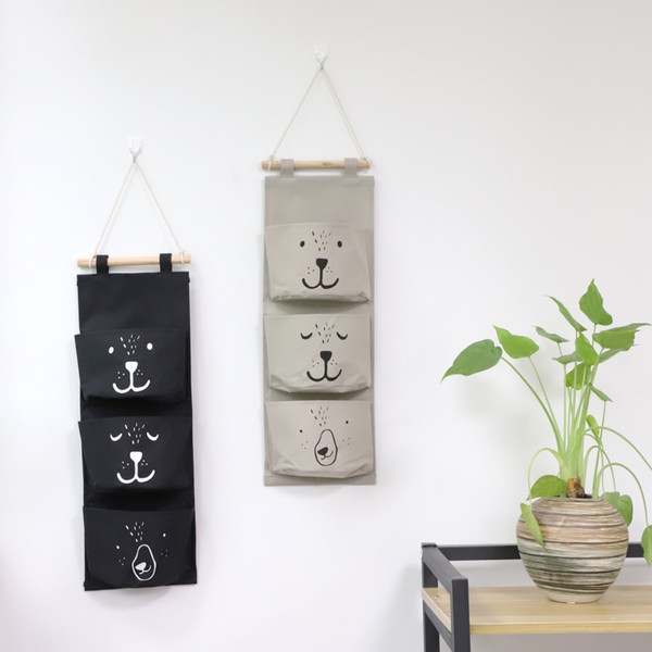Cute 3 Pockets Hanging Storage Bag Home Closet Door Toy Cosmetic Organizer Wall Mounted 3 Bags Storage Bag