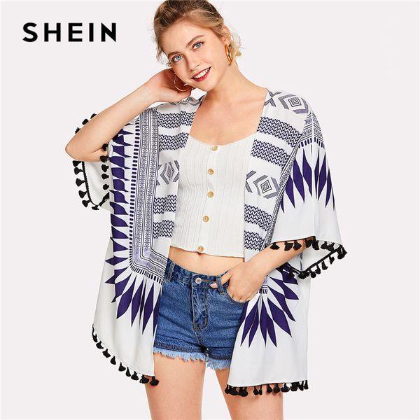 2af8bb1bb2 SHEIN Geometric Print Tassel Trim Kimono Women Half Sleeve Fringe Tribal Long  Blouse 2018 Summer New