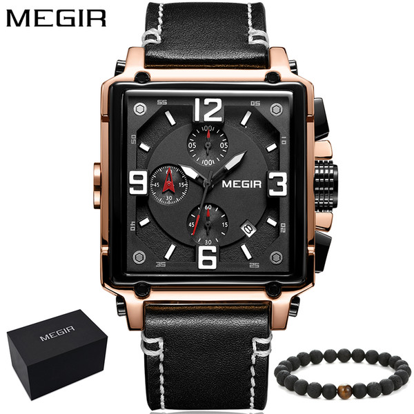Megir brand new rectangle business fashion Chronograph Quartz Watch for Man Men's leather band strap Sport Wristwatch Boy gift