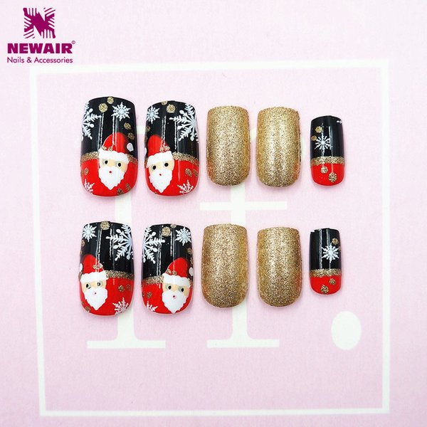 24pc/Box Christmas False Nails with Adhesive Tapes Santa Xmas Snowflake Full Cover Fake Nail Art Tips Christmas Gift Decorations