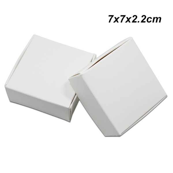 7x7x2.2 cm 50pcs/lot White Kraft Paper Wedding Gifts Pack Box for Ornament Jewelry Candy Cardboard Packing Boxes Handmade Soap Storage Boxes
