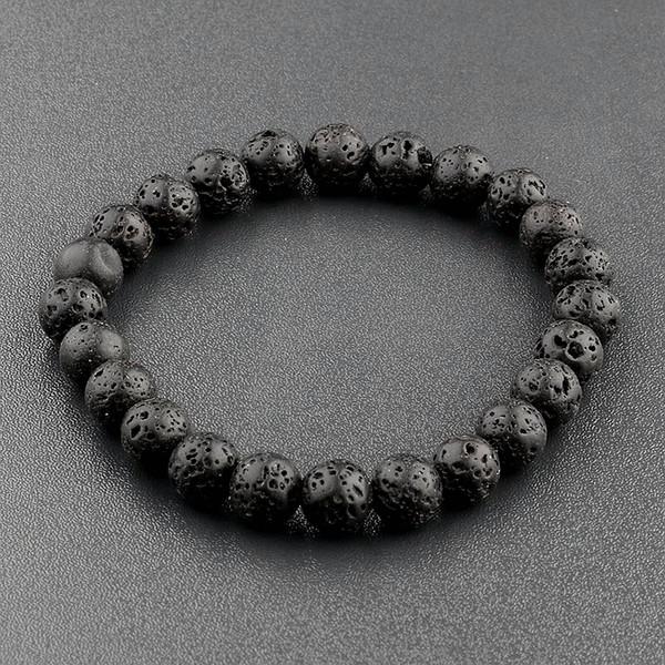 Las mujeres de Amader Natural Lava Stone Black Beads Bracelet Colorful Buddha Mate Pulsera Para Mujeres Yoga Strand Joyería AB176