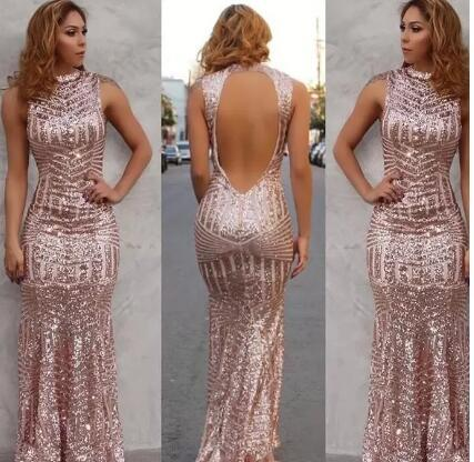 Rose Gold 2017 Sexy Mermaid Prom Dress Vestidos De Fiest High Neck Sequined Open Back Sleeveless Floor Length Evening Party Gowns