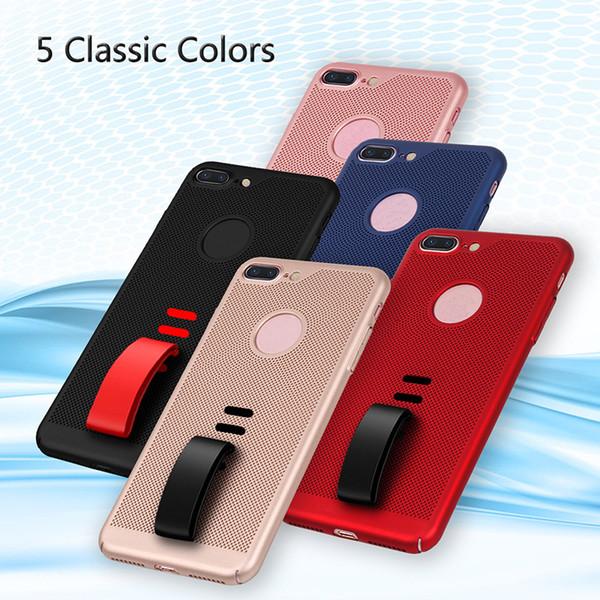 Estuche rígido de plástico de la caja del teléfono cajas de la contraportada dura con el sostenedor del anillo del apretón del dedo del silicón para el iPhone X 7 8 6 6 más SCA458