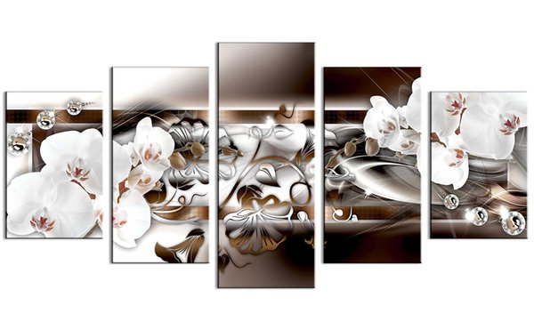 5 canvas print, printing white orchid art painting vivid flower and diamond painting modern home decor frameless