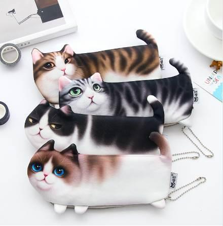 NEW Kawaii Novelty Simulation Cartoon Cat Pencil Case Soft cloth School Stationery Pen Bag Gift for Girl Boy Student