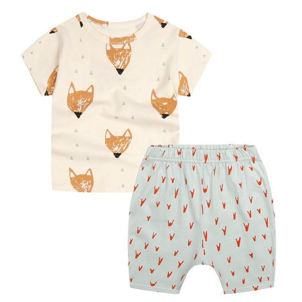 Kids Fox Printed T-Shirt+Pants Outfits Summer 2018 Children Clothes for Boutique Little Boys Girls Cotton Short Sleeves 2 PC Set Casual