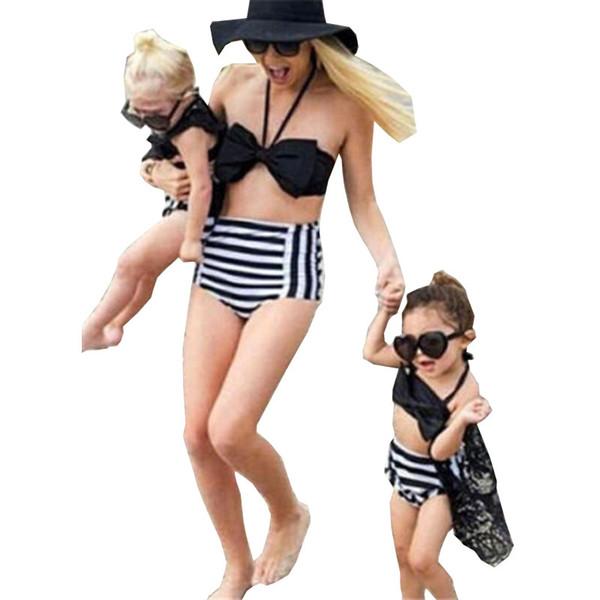 best selling Newest Bikini 2018 Mother And Daughter Swimming Wear Girls Striped Bowknot Bikinis Set Family Matching Clothes Swimwear Swimsuit