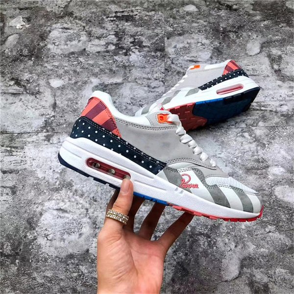 2018 97AirMax 1 Parra Sean Wotherspoon 1/97 Men Running Shoes Authentic Corduroy Rainbow AT3057-100 VF SW Hybrid Sports Sneakers With Box