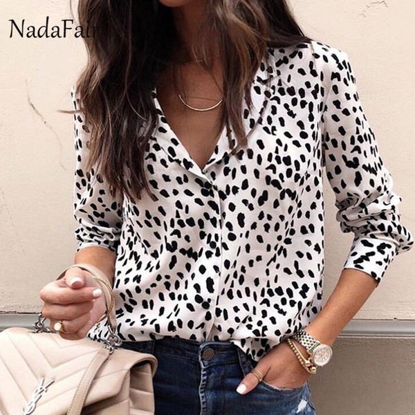 5934c2dd34 leopard print women blouses Coupons - Nadafair Turn Down Collar Animal Print  Leopard Blouse Women Long