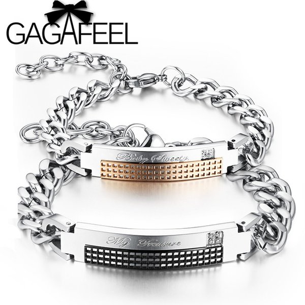 """GAGAFEEL """"My Treasure & Baby Sweety"""" Couple Bracelets Stainless Steel Crystal Bangles For Lover Luxury Jewelry High Quality"""