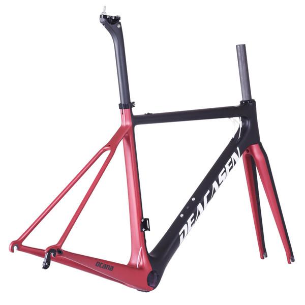 Bicicleta de carreras mecánica + horquilla + tija de sillín + auriculares bicicleta de carretera de carbono2018 NUEVO marco de carretera de fibra de carbono