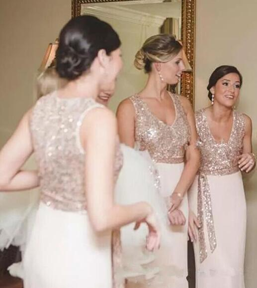 2018 Rose Gold Sequins Bridesmaid Dresses with Sash Long Cheap Mermaid country Wedding Guest Dresses for Party Gowns Custom Made