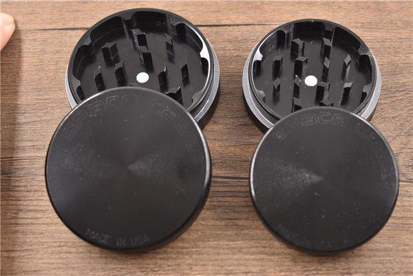 cheap wholesale Black 55mm/63mm 2parts CNC aluminum SPACE CASE smoke grinder metal herbal herb tobacco grinder