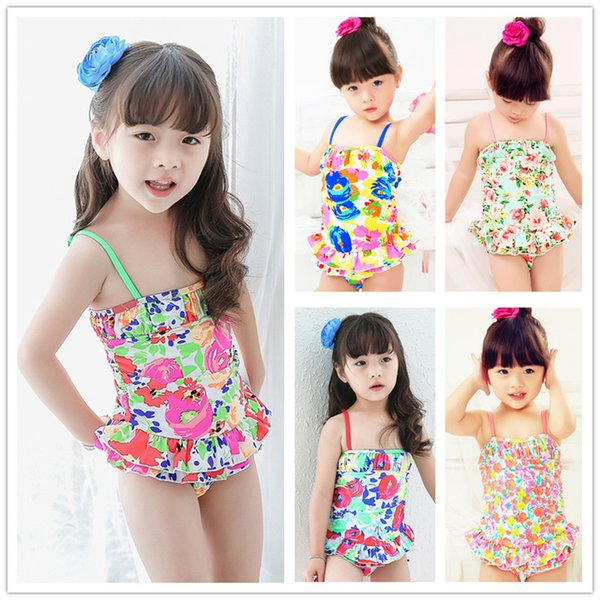 Special children's bathing suit children students multicolor broken beautiful condole belt hot spring one-piece swimsuit combination, a love